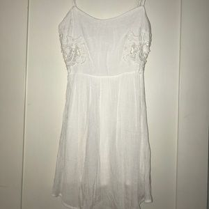 White crochet side dress